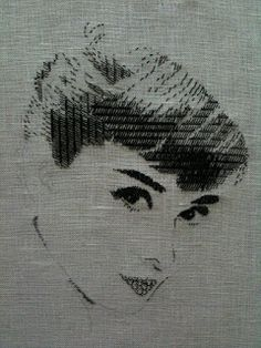 The timeless of beauty of Audrey Hepburn in blackwork. This is the work of blackwork embroidery artist Chiho Ikeda - you can see more of her work on her. Blackwork Embroidery, Embroidery Applique, Cross Stitch Embroidery, Embroidery Patterns, Machine Embroidery, Portrait Embroidery, Thread Art, Embroidery Techniques, Cross Stitching