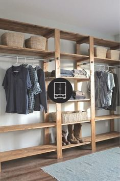 Do you want to remodel your closet? Look through and try these easy and creative DIY wood open closet tutorials! Kid Closet, Room Closet, Closet Ideas, Master Closet, Wood Closet Shelves, Diy Wood Shelves, Modern Closet, Simple Closet, Wooden Wardrobe