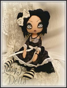 Lilah Dusk. Gothic Victorial Style Cloth Doll by Lesley Jane Dolls