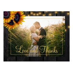 Rustic wood sunflowers wedding thank you postcard