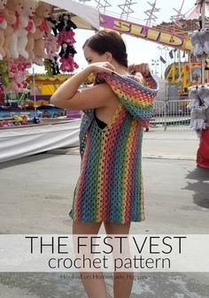 The Fest Vest Crochet Pattern - Oh. I am so excited to share this fun, summer pattern with you! The Fest Vest Crochet Pattern is my new favorite thing to wear! lustig The Fest Vest Crochet Pattern Crochet Vest Pattern, Crochet Cardigan, Crochet Shawl, Crochet Yarn, Crochet Stitches, Crochet Vests, Free Pattern, Crochet Sweaters, Crochet Bodycon Dresses