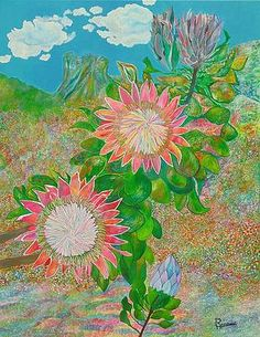 protea painting - Google Search Google Search, Painting, Art, Art Background, Painting Art, Kunst, Paintings, Performing Arts, Painted Canvas