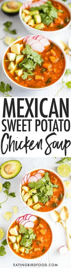 Mexican Sweet Potato Soup with Chicken, Cauliflower and Spinach // Gluten-free, Paleo and Whole30 approved