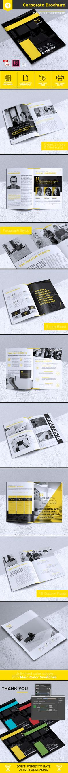 Creative Corporate Brochure Template InDesign INDD - 16 Custom Pages, A4 and US Letter