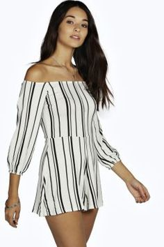 3672ecad8833 Lissa Stripe Off The Shoulder Playsuit at boohoo.com Holiday Outfits