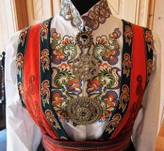 Traditional dress Norwegian Clothing, Norwegian Fashion, Traditional Fashion, Traditional Dresses, Folk Costume, Costumes, Scandinavian Embroidery, Dress Neck Designs, Folk Fashion
