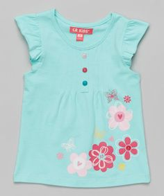 Love this Light Turquoise Floral Angel-Sleeve Top - Girls on #zulily! #zulilyfinds