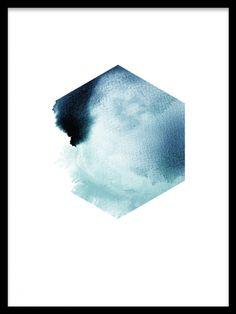 Hexagon i petrolblått på vit bakgrund