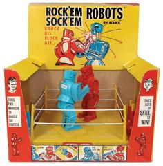 Rock 'Em Sock 'Em Robots Original Toy in Packaging! I just recently watched the movie Real Steel. I loved it so much, I'm posting bunch of Rock 'Em Sock 'Em Robots posts! Vintage Robots, Vintage Toys, Vintage Stuff, Vintage Clothing, Retro Vintage, Childhood Toys, Childhood Memories, Sweet Memories, I Remember When