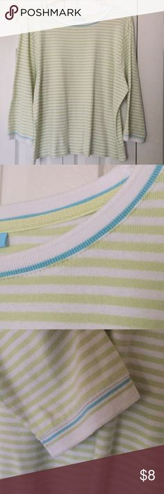 Cozy striped top Durable cotton. TShirt soft. Accent trim around the neckline and sleeve ends. Slight signs of wash & wear, but still a great top!  (GV) Jennifer Moore Tops