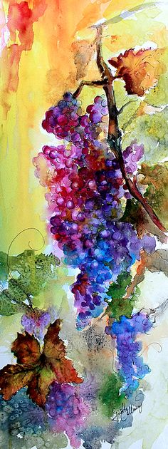 Wine Grapes Burgundy In Sunlight by Ginette Callaway