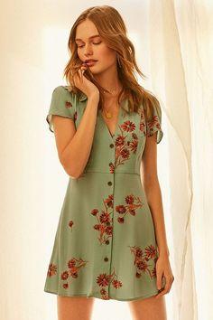Slide View: 2: UO Mallory Button-Down Mini Dress