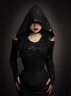 Model: Lady Kat Eyes Photographer: Digitalbeautystudio Hooded Dress: Killstar Welcome to Gothic and Amazing  www.gothicandamazing.com