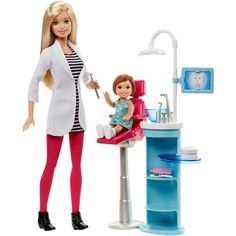 Barbie Careers Dentist Playset Career Dolls Contemporary NEW 3 . The Barbie dentist doll is ready to see patients in striped shirt, pink pants, matching shoes and white dentist's coat. Explore the world of health care with Barbie dentist play set. Mattel Barbie, Mattel Shop, Site Da Barbie, Barbie Website, Barbie Stuff, Barbie Playsets, Doll Clothes Barbie, Stylish Office, Professional Outfits