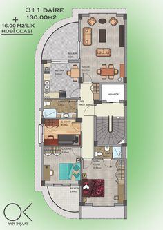 3+1 daire planı