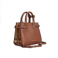 49ce3c5a663 Tote Bag Handbag Authentic Burberry The Baby Banner in Leather and House  Check Ink Tan Item