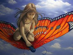 """Michael Godard - """"Butterfly """" Limited Edition Canvas Giclee - 27 ..."""