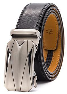 5349d5c92309 GFG Ceinture pour Homme en Cuir Véritable avec Boucle Automatique  Largueur-3.5cm