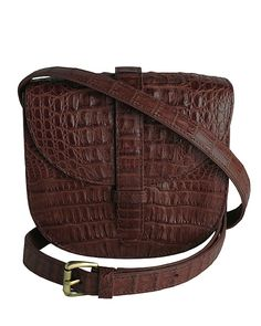 Mini Gypsy Crossbody - Kango Brown Crocodile This perfect union of exotic skins and bold colors ensure all your essentials remain within an arm's reach.  http://www.zinkcollection.com/mini-gypsy-crossbody-kango-brown-crocodile/