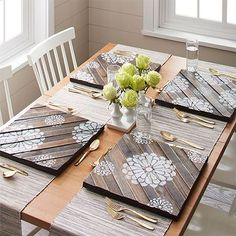 Got some wood left over from a previous project? Use scrap wood into decorative placemats for your dining table. - My Wood Den Woodworking Joints, Woodworking Workbench, Woodworking Furniture, Fine Woodworking, Woodworking Crafts, Intarsia Woodworking, Woodworking Organization, Woodworking Quotes, Workbench Plans