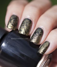 Chanel Gold Fingers over OPI Lady In Black cling film mani