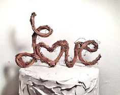 Rustic Twig Grapevine Wedding Cake Topper  LOVE by TheOriginalTwig, $59.00