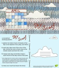 Once had a long illness and how lovely if I had thought of this on the 'well' days to look out and knit the sky! Another clever lady has done the same conceptual scarf with her glorious sunsets. Loom Knitting, Knitting Patterns, Crochet Patterns, Knitting Ideas, Crochet Scarves, Scarf Knit, Crafty Projects, Yarn Crafts, Knitting Projects