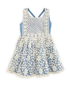 Embroidered Chambray A-Line Dress, Blue/Ivory, 4-6X by Lipstik at Neiman Marcus Last Call.