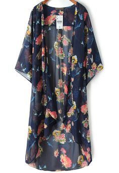 This fab floral kimono is gorgeous! We love all those vibrant colors! They al play off of each other so well! This kimono will liven up any outfit! Chiffon Cardigan, Chiffon Kimono, Floral Chiffon, Chiffon Tops, Print Chiffon, Floral Kimono, Blouse Kimono, Ropa Semi Formal, Look Fashion