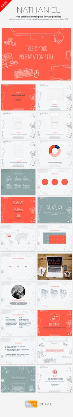The illustrated background of this free template will make your content stand out from the crowd. By changing the single accent color you can adapt it to your brand needs. This design is great for technology, entrepreneurship or design presentations and conferences.