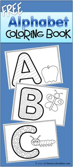 FREE Alphabet Coloring Book - these are super cute alpahbet coloring sheets to help kids practice fine motor skills, upper case letters, and start identifying something that begins with the same alphabet letter.