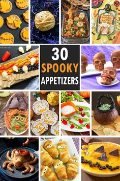 A roundup of 30 HALLOWEEN and snacks, fun Halloween food ideas for your Halloween party. A roundup of 30 HALLOWEEN and snacks, fun Halloween food ideas for your Halloween party. Halloween Party Appetizers, Halloween Food For Party, Halloween Desserts, Halloween Cupcakes, Halloween Treats, Halloween Potluck Ideas, Spooky Treats, Buffet Halloween, Soirée Halloween