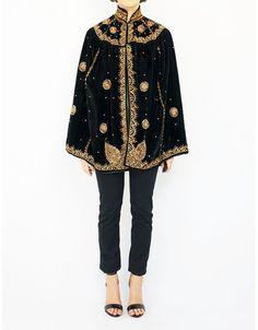 Embroidery vintage velvet cape.