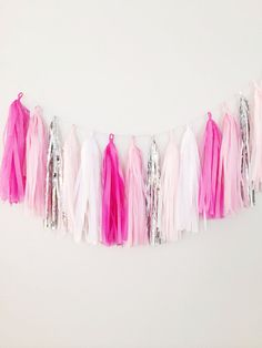 Ombre Pink and Silver Tassel Garland Banner  Party by BlushBazaar, $29.00  {for my office wall or even above our bed. not in pink tho...the fiancé would have a fit! haha!}