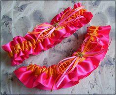 Beach Wedding Starfish Bridal Garters Hot Pink and Orange
