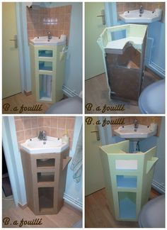This bathroom furniture is made of upcycled cardboard. Each shelf is on the measure with piping lavabo. You can put your toothbrush in the little receptacl