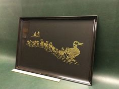 Rare Mid-Century Vintage Couroc Of Monterey The Boston Ducklings Large Tray