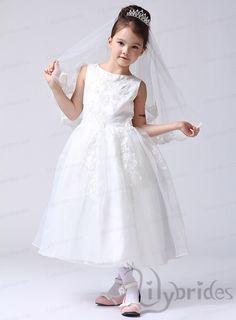 Princess Scoop Chiffon Organza Tea Length Flower Girl Dress