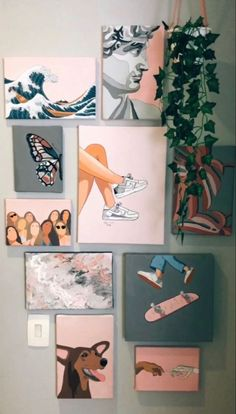 Cute Canvas Paintings, Easy Canvas Art, Small Canvas Art, Mini Canvas Art, Diy Canvas, Painting Canvas, Photo Canvas, Wall Paintings, Dorm Canvas Art