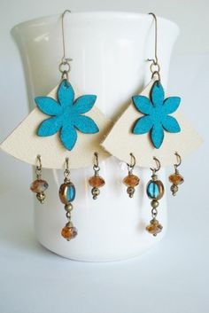 leather earrings leather jewelry bohemian jewelry by AJBcreations, $25.00