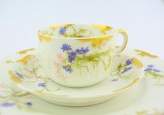 "Haviland limoges trio made in France bone china cup and saucer and 8.5"" plate"