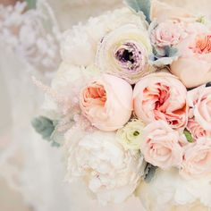 Meredith's bouquet with pastel roses and peonies