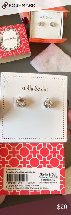 Stella & Dot Sparkle Studs! Beautiful clear crystal studs with silver backings. Unworn, perfect condition, NWT! Stella & Dot Jewelry Earrings