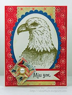 "A Kept Life: card made using Serendipity Stamps ""Eagle"" rubber stamp"