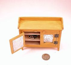 """Antique wooden pie safe, pierced """"tin"""" door panels, 3 shelves, doors open and latch. 1 to 12 scale dollhouse miniature. Handmade in USA."""