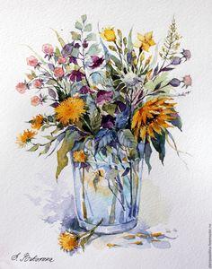 Купить Букетик с одуванчиками и ягодками - акварель, букет, картина в подарок, цветы, полевые цветы