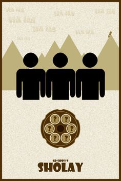 minimalist movie poster of Sholay Best Movie Posters, Minimal Movie Posters, Minimal Poster, Film Posters, Bollywood Funny, Bollywood Posters, Indian Movies, Watercolor Background, Fan Art