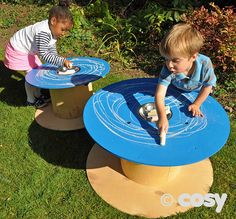 A perfect spot for mark making with this set of two chalkboard painted cable drums. We have used a blue paint to give a softer look than the standard black. Easy to position anywhere you like inside or out. Includes storage bowl for chalk i Eyfs Outdoor Area, Outdoor Play Spaces, Outdoor Fun, Natural Playground, Outdoor Playground, Playground Ideas, Outdoor Classroom, Outdoor School, Eyfs Classroom