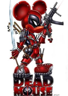 Deadmouse (not to be confused with - Deadpool / Mickey Mouse mash-up Disney Marvel, Marvel Vs, Marvel Dc Comics, Marvel Heroes, Deadpool Pikachu, Deadpool Art, Deadpool Wallpaper, Dead Pool, Dark Disney