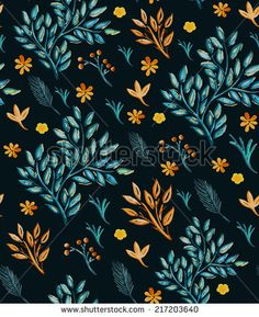 Seamless background pattern. Watercolor hand-drawn plants. Vector illustration.